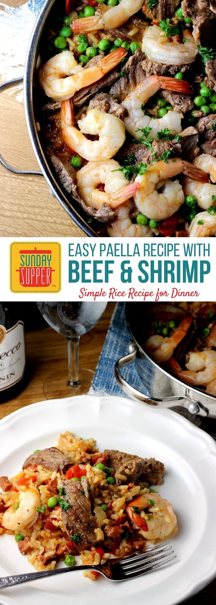 Easy Paella Recipe with Beef and Shrimp is a great simple rice recipe for dinner any day of the week! Full of tender sirloin steak, plump shrimp, vegetables and creamy rice it's a recipe perfect for a crowd! #SundaySupper #beef #shrimp #easyrecipe