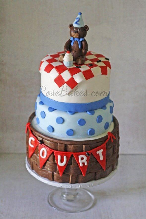 Teddy Bear Picnic Cake plus How to Make Fondant Basket tutorial