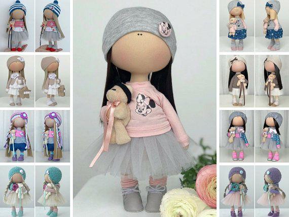 Textile doll Handmade doll Tilda doll Fabric doll Interior doll Nursery doll Bambole Rag doll Puppen Muñecas Gray doll Bambino by Yulia K