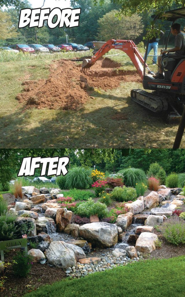 Dual Stream Pondless Waterfall Before & After  in Hummlestown, PA –