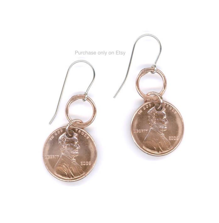 Jewelry Penny Earrings 10th Anniversary Gift Jewelry Coins 2008 Copper Dangle Metal Earrings by WvWorksJewelry on Etsy