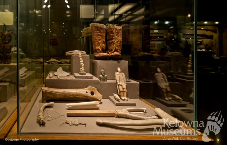 The Okanagan Heritage Museum has an great collection of First Nation artefacts from various regions of BC. This case displays examples of Inuit tools, and items used in everyday life in the North.