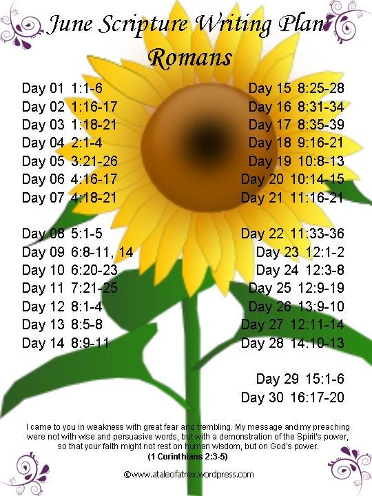 Romans June Scripture Writing Plan:  This is the first of my scripture writing…