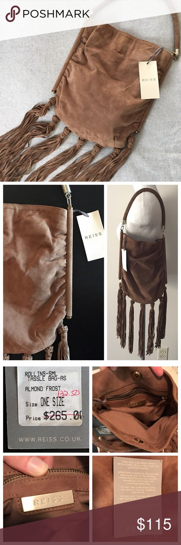 Adorable Soft Suede Tan Fringe Boho Reiss Handbag Brand new! I lovvvvveee this bag, but just have never used it. Purchased on sale, the suede is real, high quality leather and is buttery soft. Beautiful fringe along the bottom, metal sides with rusching and a braided handle. Size: 12 inches tall, 11 inches wide, the fringe adds another 12 inches in length. Reiss Bags Shoulder Bags