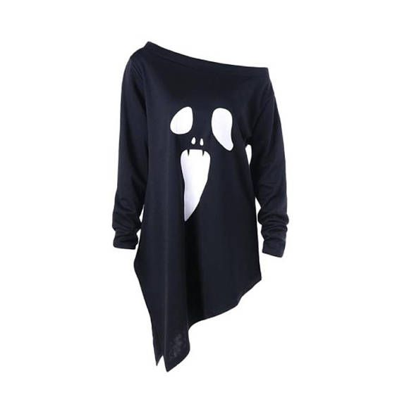 Scary Ghost Boo Halloween Print Women Tshirt Cotton Casual