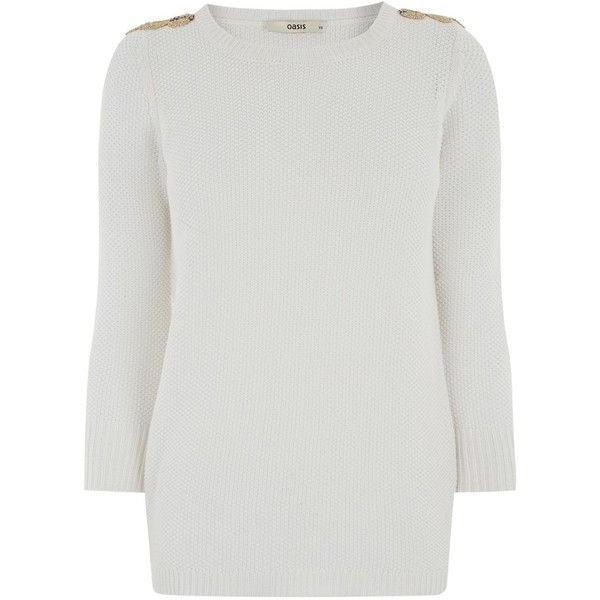 Oasis Embellished Shoulder Knit, Off White ($61) ❤ liked on Polyvore featuring tops, embellished tops, relaxed fit tops, long sleeve tops, embellished knit tops and knit tops
