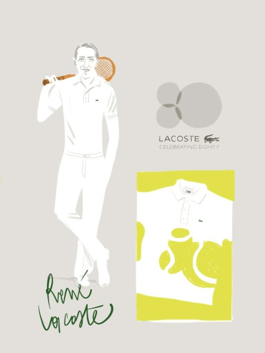 Lacoste Polo 8oth anniversary - René Lacoste. #fashion #illustration Open Toe - opentoeillustration.com