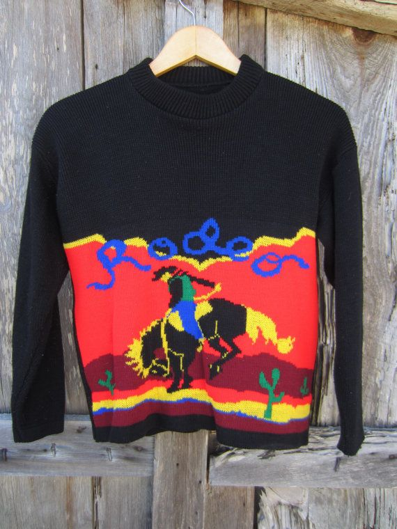 80s Rodeo Knit Sweater, S // Vintage Cowboy Jumper // Winter Holiday Sweater // Crazy Christmas Sweater