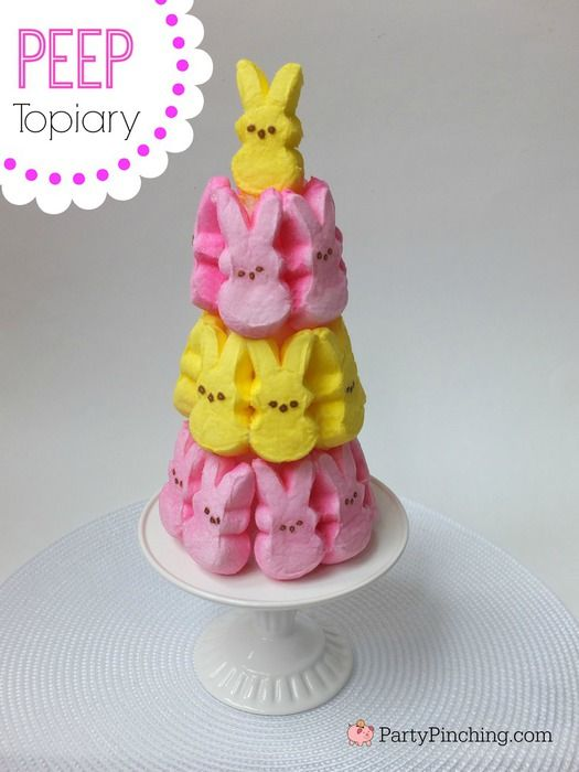 Easter Peep topiary, easy Easter DIY decoration for kids, fun Easter ideas, Peep bunnies