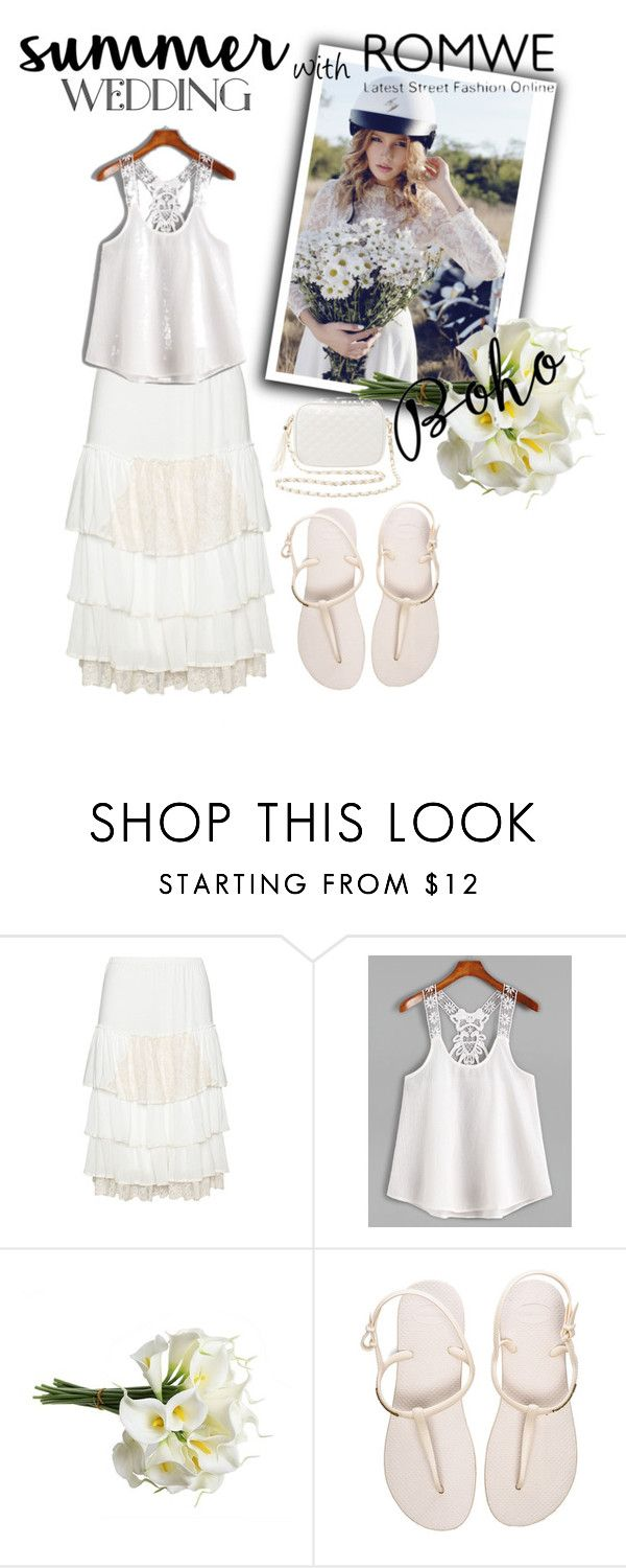 """""""Romwe White Top"""" by elisabetta-negro ❤ liked on Polyvore featuring Zedd Plus, Havaianas and Charlotte Russe"""