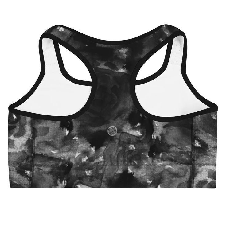 Black Rose Abstract Floral Print Women's Sports Bra- Made in USA (US Size:XS-2XL)