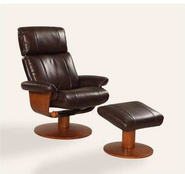 Oslo Collection Air Massage In Espresso Brown Bonded Leather Swivel Recliner - traditional - chairs - PoshHaus
