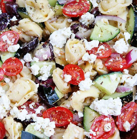 Greek Tortellini Salad Recipe1 package refrigerated cheese tortellini  1 1/2 cups grape tomatoes, cut in half  1 large cucumber, sliced  1 cup kalamata olives, pit removed and chopped  1/2 red onion, chopped  3/4 cup crumbled feta cheese   For the Dressing:  1/4 cup extra virgin olive oil  3 tablespoons red wine vinegar  1 clove garlic, minced  1/2 teaspoon dried oregano  Salt and pepper,