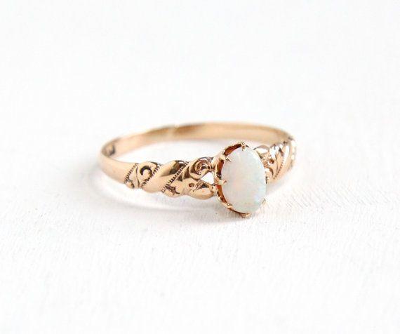 Antique 10K Rose Gold Opal Ring Vintage Size 7 by MaejeanVintage