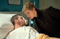 Tuesday 19 January 2016 - Aaron Livesy [DANNY MILLER] confronts Chas over Gordon and demands she leaves him. Chas thinks she's talked him round but Aaron secretly attempts to leave the village. However, he is stopped by Robert Sugden [RYAN HAWLEY] and soon collapses from sepsis. Robert realises he's been self-harming and has a bad infection. As Chas and Gordon make their relationship known around the village, Aaron and Robert are at the hospital and Aaron whispers something in Robert's ear…