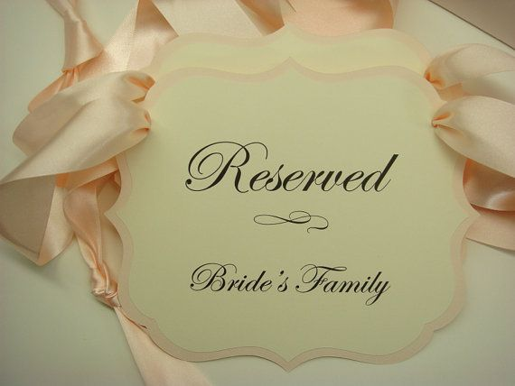 Wedding Signs Reserved Seating Pew or Chair Signs to Use During Your Wedding Ceremony Prepared in  your Wedding Color Palette