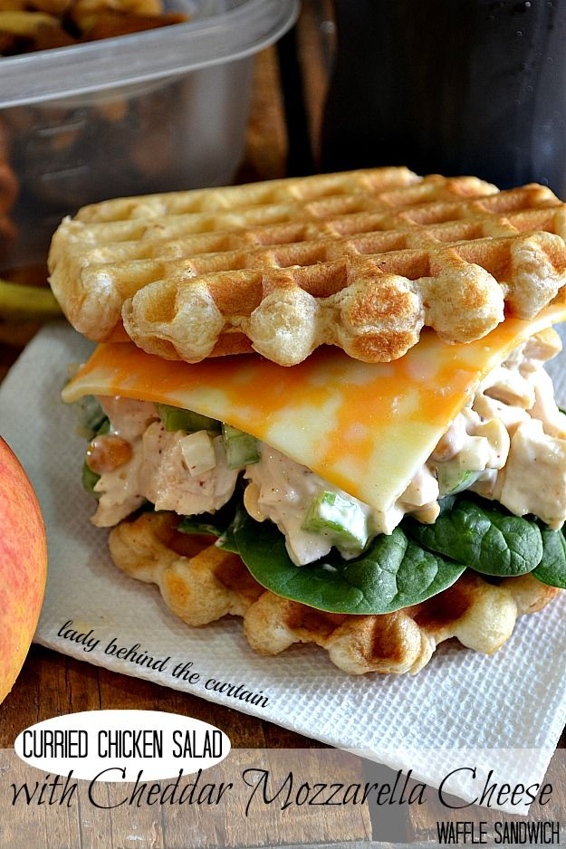 Curried Chicken Salad with Cheddar Mozzarella Cheese Waffle Sandwich | Lady Behind The Curtain