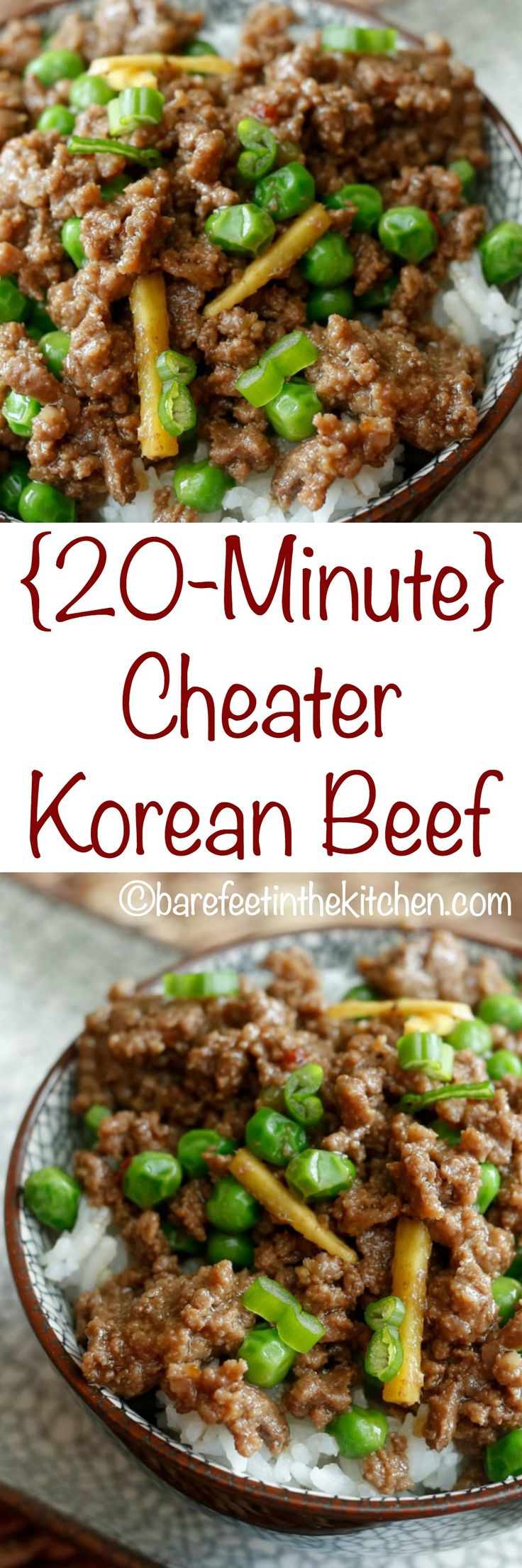 {20-Minute} Cheater Korean Beef is a meal the whole family will love! Get the recipe at barefeetinthekitchen.com