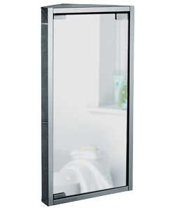 Mirrored Bathroom Corner Cabinet - Stainless Steel.