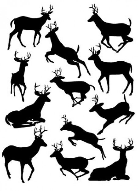 Deer Silhouette Material (.ai) - Animals vector #58256 | Download Free Vector Art- Veectors.com