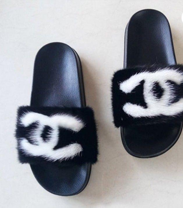 Black Chanel Mink Fur Slides   Chanel