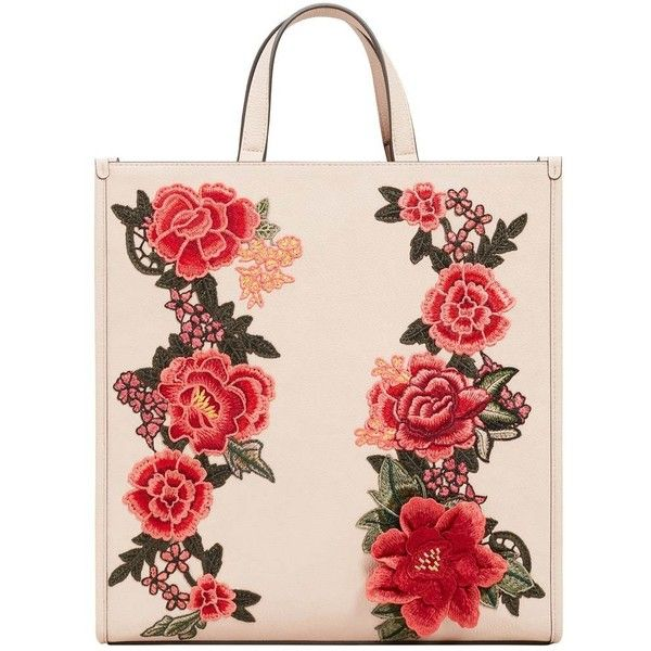 Floral Embroidery Shopper Bag ($81) ❤ liked on Polyvore featuring bags, handbags, tote bags, long purse, mango tote bag, long handbags, shopper handbags and shopping bag