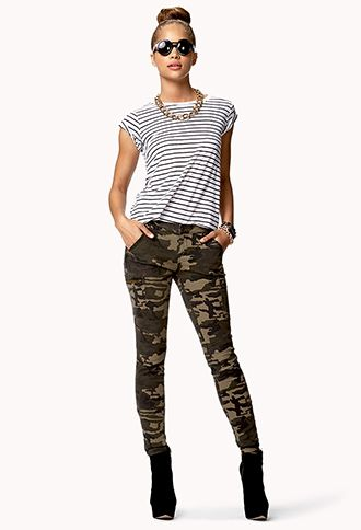 Camo Skinny Jeans . Inspiration for the camo jeans I had to buy for my show. I love them with stripes...and big kick ass boots.