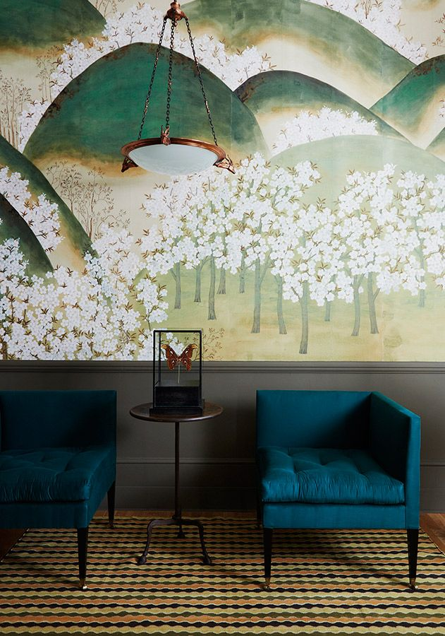 Oh, The Beauty Of Hand Painted Wallpaper! Love The Indigo Seating Almost As  Much As The Gorgeous Wall Behind Them. Hand Painted Wallpaper By Claud  Gurney Of ...