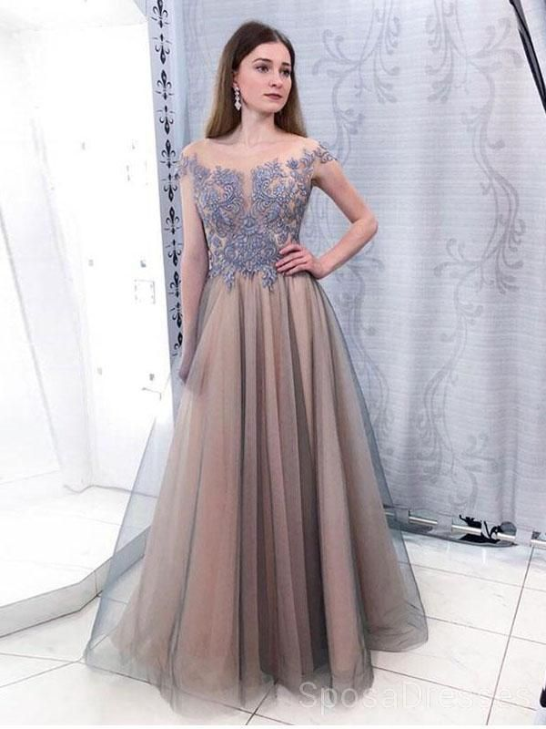 4cf2ab7c14c9 Cap Sleeves Scoop Dusty Blue Lace Grey Evening Prom Dresses, Cheap Custom  Sweet 16 Dresses, 18483 The Long Evening Prom Dresses are fully lined, ...
