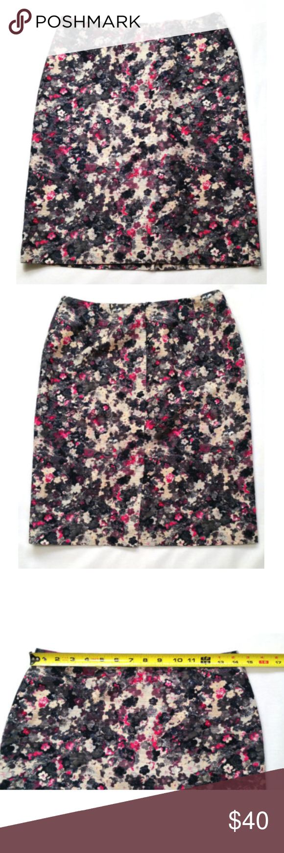"""Women Straight Skirt Career Watercolor Floral 0380 Talbots Women Stretch Straight Skirt   Style # PH95  Gently used, no flaws.  - Back zipper with hook & eye closure. - Back pleat. - Full black interior lining. - Multi-color: Black, Gray, Pink, and Ivory.  Size 4P (see photos for more measurements). Approx. measurements laying flat Waist: 14"""" Hips: 17.5"""" Length: 21""""  SKU 0380/15/CLE1 Talbots Skirts Pencil"""