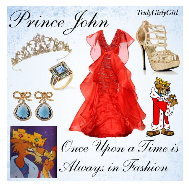 """Disney Style: Prince John"" by trulygirlygirl ❤ liked on Polyvore featuring Renato Balestra, Disney, Heidi Daus, CO, Alvina Abramova, disney, robin hood, john and prince"