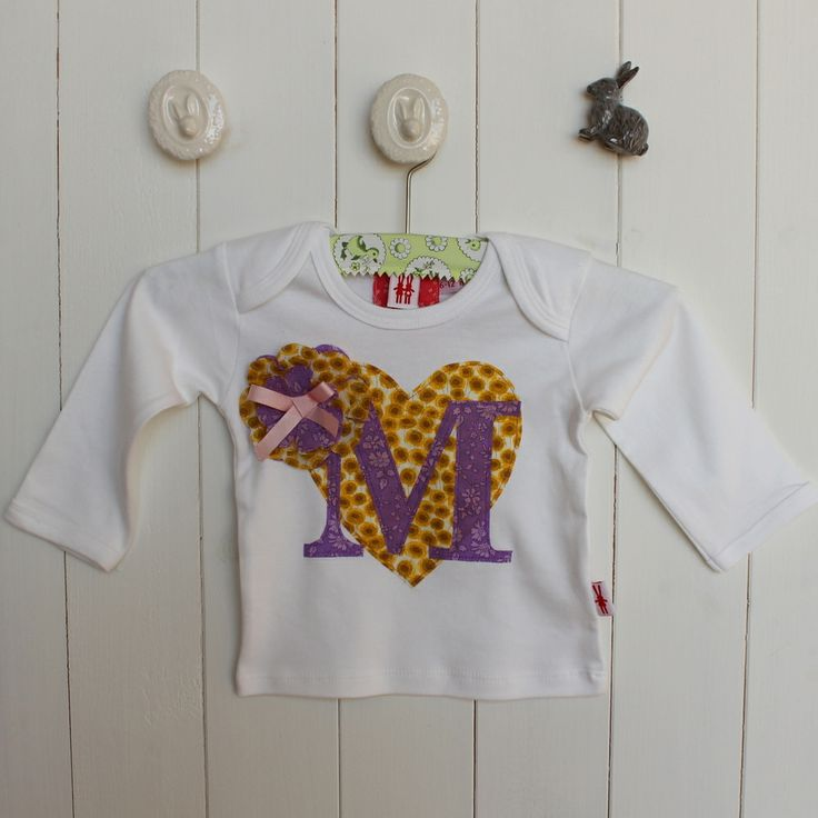NEW Personislied Heart & letter Long Sleeve T-Shirt £20 New Season from Milk Two Bunnies