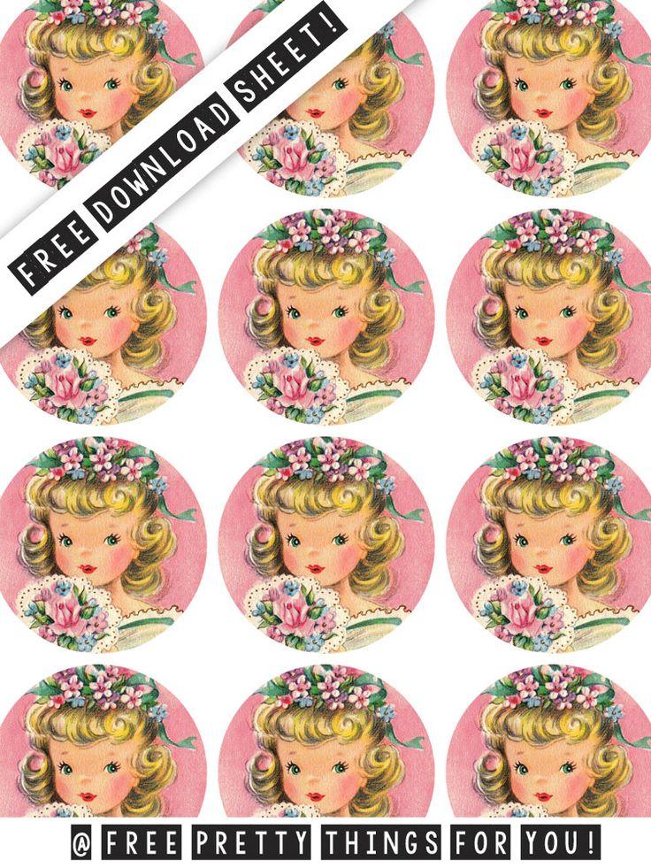 Sticker Printing: Pretty Vintage Girl 2 inch Printable Circles @fptfy
