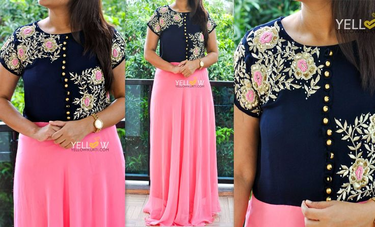 WALK IN GRACE ! Navy blue and baby pink Georgette heavy embroidered long gown. Sizes - M L XL XXL Price - 2999 INR Kindly write to us at teamyellow@yellowkurti.com or private message us here on Facebook !