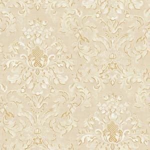The wallpaper company 56 sq ft neutral floral damask - Floral wallpaper home depot ...