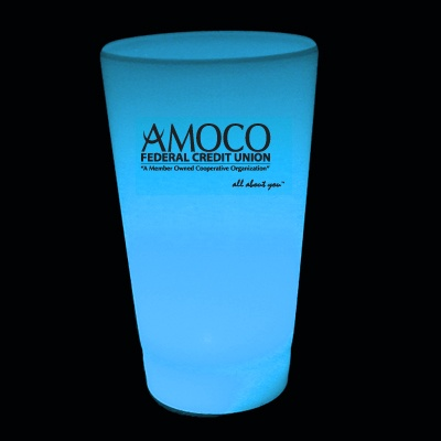 Custom Glow Cups.  For cups with a single LED color - prices are as low as $1.95 each (for 1000 cups).  Turn time is about 3-4 weeks.