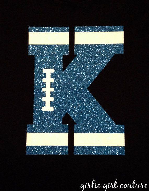 Custom Glitter Football Letter or Number by GirlieGirlCouture