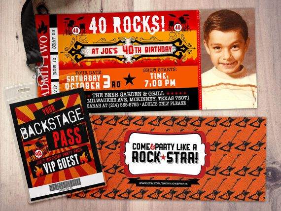 ROCKSTER concert ticket uitnodiging-Music van LyonsPrints op Etsy