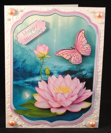 Shaped card topper with decoupage featuring pink lotus flowers and a butterfly on a pretty background. There are Happy Birthday and Get Well soon sentiments or a blank tag for your own greeting.