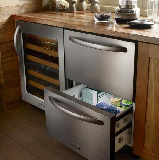 Stainless steel may still be the dominant kitchen appliance finish trend, but that doesn't mean large metal clad appliances have to dominate the kitchen. A few kitchen appliance manufacturers are starting to take note some customers don't want a giant fridge as the focal point of their kitchens, and have begun offering an alternative: refrigerator drawers.