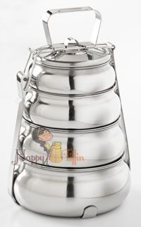 Happy Tiffin, Large 4-Tier Pyramid Tiffin Food Carrier (My parents used this for 2 years when I was a kid) I thought it was the coolest thing.