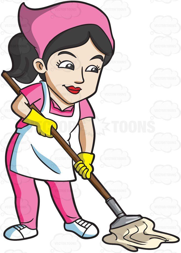 A Maid Mopping The Floor Cartoon Clipart Vector