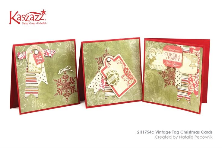 2H1754c Vintage Tag Christmas Cards