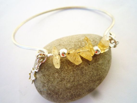 Cuff bracelet Sterling silver and Citrine cuff by Iridonousa