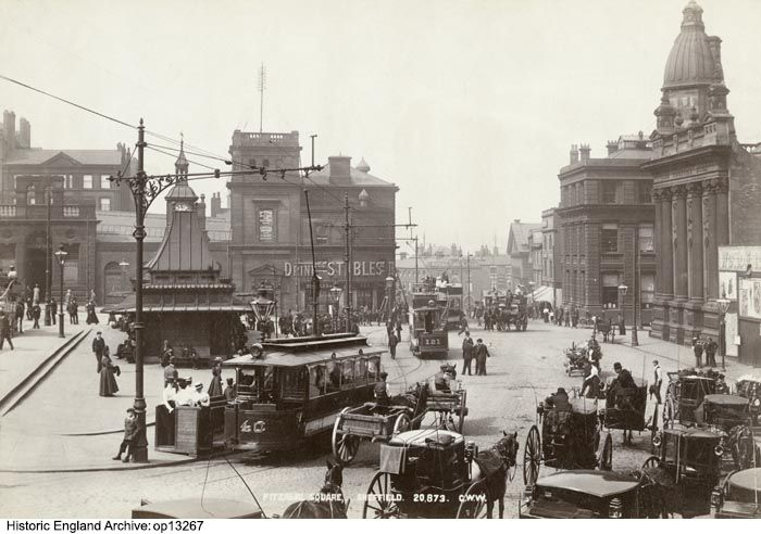 OP13267 Horse-drawn taxis and electric trams in Fitzalan Square, Sheffield.  Electric trams first started to run in Sheffield from 1899.  Date circa 1900 Photographer: George Washington Wilson and Company