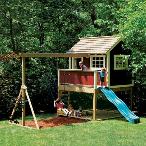 Do It Yourself Backyard Playhouse Plan - This $10.50, twelve-page plan set, from Rockler.com, includes a material list, cutting diagrams, step-by-step instructions with clear photographs. The Playouse itself features a slide, a swing, a clubhouse and small deck. What kid wouldn't want all that?                                                                                                                                                      More