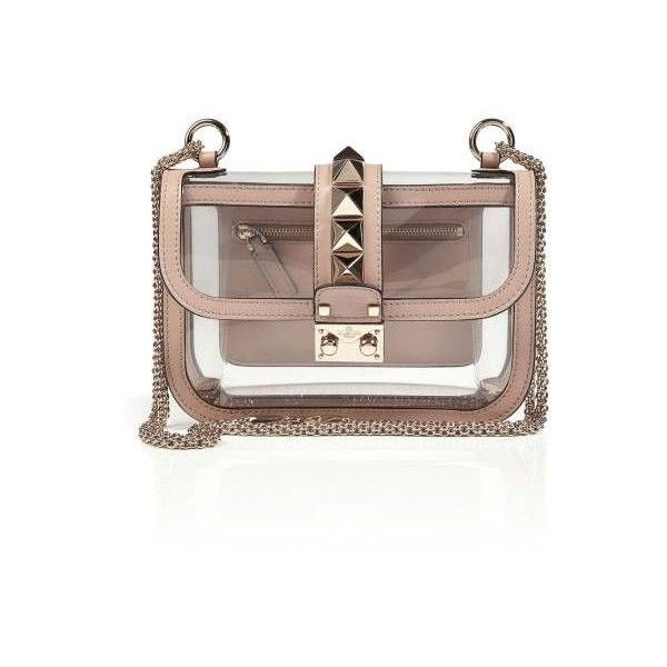 Valentino Rockstud Clear Plastic Studded Bag - Clear Transparent... ❤ liked on Polyvore featuring bags, handbags, clear plastic handbags, plastic handbags, plastic purse, brown purse and transparent handbags