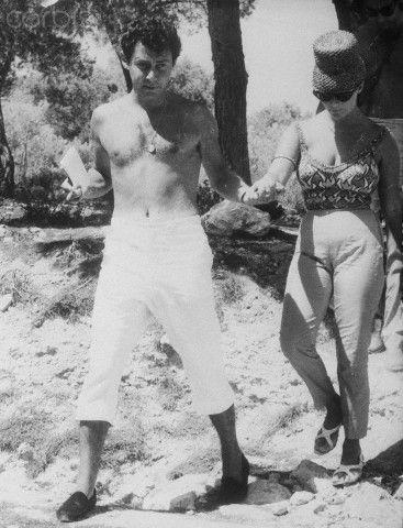 1960 ~ Elizabeth Taylor and husband Eddie Fisher visiting Aegina island