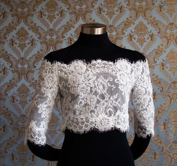 Off-Shoulder Alencon Chantilly Lace Bridal Bolero jacket shrug with eyelash edges by IHeartBride Style Adelaide Estera on Etsy, $349.00