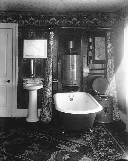 Interior Of Bathroom Gunnison Floyd W Ca 1915 Gelatin